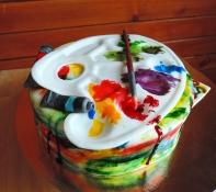 tort malarski -paleta, pędzel i tubki farby