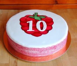 Malina -tort na 10 urodziny