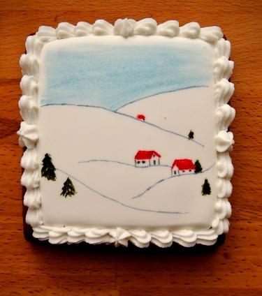 tradycyjny pierniczek miodowy - lukrowana i malowana ręcznie pocztówka / prezent